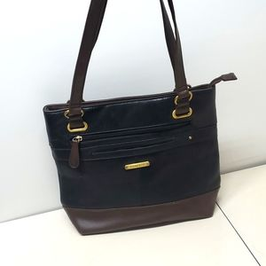 Stone & CO Black & Brown Leather Tote Bag